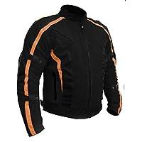 Bikers Gear Australia Chicane 輕量夏季氣流網眼透氣摩托車夾克帶 CE 1621-1 可拆卸 Armour 防水內襯 Cordura,黑色/橙色 M 96.52 厘米