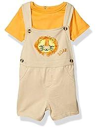 Quiltex 男童幼儿狮子图案法国厚绒布连衣裤和 T 恤 2 件套