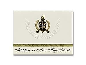 标志性公告 Middletown Area High School (Middletown, PA) 毕业公告,总统风格,25 片精英包装带金色和黑色金属箔封条