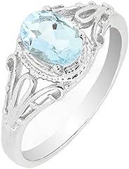 BL Jewelry 金银丝纯银椭圆形切割天然海蓝宝石戒指(3/4 CT.T.W),复古风格