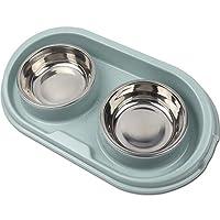 TLOG 双狗碗不锈钢猫碗防溢防滑 ABS 底座,适用于小型狗猫和宠物食品喂水碗,22 盎司高级宠物碗,不含 BPA