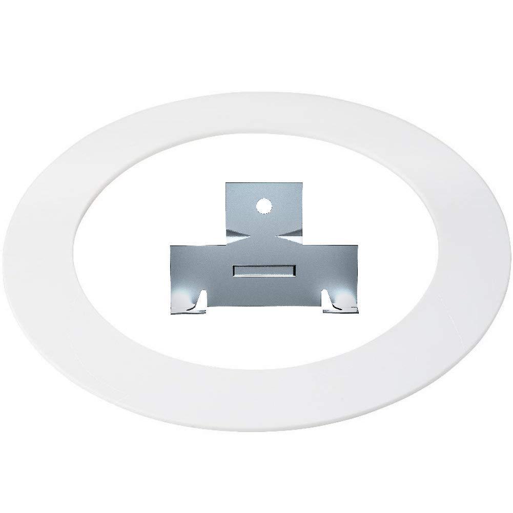 白色塑料装饰环 20.32 厘米嵌入式可向下灯超大照明灯具 白色银 Trim Ring C Clip Combo