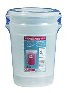 Cambro RFS8PPSW2190 8-Quart Round Food-Storage Container with Lid, Set of 2