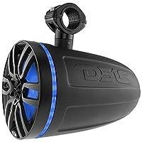 DS18 Matt Black Marine 8 英寸水力双向滑水塔式扬声器(带集成 RGB LED 灯/375 *大/125 瓦 RMS),2 件装 8 Inches