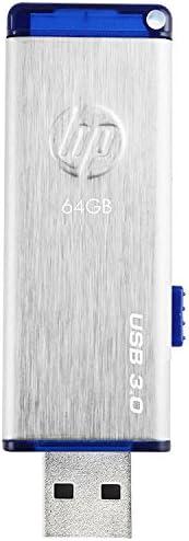 HP USB存储盘 USB 3.0 伸缩式 画笔纹理 不锈钢闪存 x730w 银 64GB