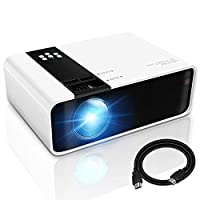 Mini Projector, 1080P HD Supported 4500 Lux Portable Video Projector, Compatible with TV Stick, HDMI, USB , AV, DVD, for Multimedia Home Theater, Built-in Dual Speaker, Four Display Mode[GRC]