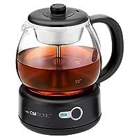 Clatronic TK 3715 茶壶,带永久不锈钢茶过滤器(可拆卸),无线技术,360°可旋转插座连接,黑色,玻璃