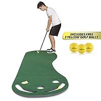 高尔夫推杆绿色基层垫 - 243.84 x 91.44cm - 包括免费 3 个黄色高尔夫球 - 适合户外和室内使用 - 适合训练、训练 - 厚实和更宽的表面 - 适合所有年龄段!