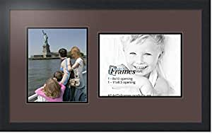 ArtToFrames 字母照片相框,带 2-3x5 开口。 黑色缎面镜框 Peat 1-8.5x11, 8x10 Double-Multimat-103-776/89-FRBW26079