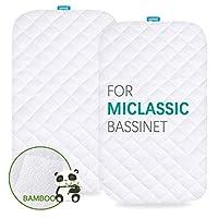 MiClassic 2 合 1 防水摇篮床床垫套,2 件装,超柔软竹纤维*表面,透气,易于护理