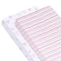Biloban 弹性婴儿床床单 2 件套,超柔软透气,* 针织棉婴儿床床单,适用于标准婴儿床和幼儿床垫