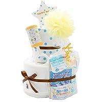 [Amazon.co.jp限定] 尿布蛋糕研究所 出生祝贺 2段 今治毛巾 婴儿淋浴 尿布蛋糕 imabari towel 日本制 男女通用 白色 面包超胶带型 S尺寸 FUWAFUWA_pampers_tape_S