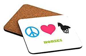 Rikki Knight Peace Love Horses Design Cork Backed Hard Square Beer Coasters, 4-Inch, Brown, 2-Pack