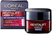 L'Oréal Paris复颜光学 晚霜, 抗老化 面霜, Revitalift Laser x3 夜间护肤 抗皱纹,