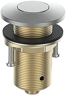 KANARY 全黄铜空气开关按钮用于水槽顶部计数器顶部垃圾处理零件 灰色(Brushed Nickel) 圆形
