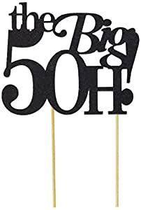 All About Details The Big 5OH! 蛋糕装饰,1 件,50 岁生日蛋糕装饰,50 周年纪念蛋糕装饰,50 周年装饰 黑色 6in wide, 4in tall and 4in skewers CATTB50BLA