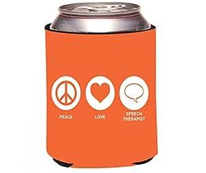 "Rikki Knight RKws-KOOZIE-42127 ""Peace Love Speech Therapist Orange Color Design"" Beer Can/Soda Drink Cooler Koozie"