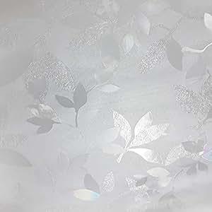 """树叶和浆果窗户保护膜隐私无残留物 - 即剥即贴室内室外装饰家庭浴室淋浴客厅办公室会议室玻璃门薄膜 23.5"""" x 78"""" .3 L-WFILM-L093"""