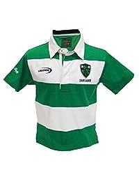 Traditional Craft Limited 翡翠/白色条纹爱尔兰短袖儿童橄榄球衬衫