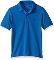 Calvin Klein 男童纯色珠地布 Polo 衫 Forever Blue Heather Large (14/16)
