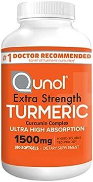 Turmeric Curcumin 软胶囊,Qunol 超高吸收 1500 毫克,关节支撑,膳食补充剂,*,180 粒软胶囊