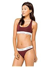 Calvin Klein Women's Modern Cotton Thong Panty, Deep Maroon, S