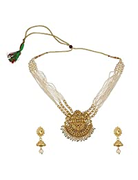 Efulgenz 印*安宝莱坞传统 14 K 镀金水晶 Kundan 珍珠串珠婚礼寺庙颈圈项链耳环珠宝套装