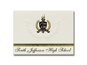 标志性公告 South Jefferson 高中(亚当斯,纽约)毕业宣布,总统风格,25 件装基本包装带金色和黑色金属箔封条