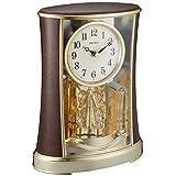 精工表 时钟 时钟 模拟 旋转装饰 浓茶 木纹 图案 BY427B SEIKO