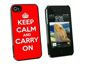 Graphics and More Keep Calm and Carry On Red - Snap On Hard Protective Case for Apple iPhone 4 4S - Black - Carrying Case - Non-Retail Packaging - Black