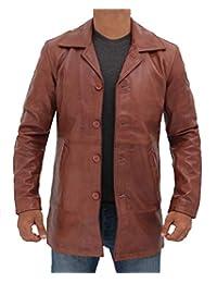 Decrum 仿旧棕色皮夹克男式 - 男式羊皮夹克和外套