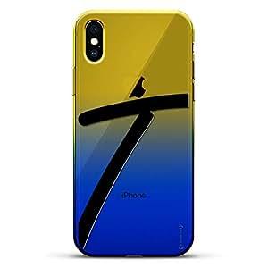 豪华设计师,3D 印花,时尚,高端,变色效果手机壳,适用于 iPhone Xs/X - 黄昏蓝小白色棒球图案LUX-IXCRM2B-INITIALT1 INITIALS: BLACK INITIAL T1 蓝色(Dusk)