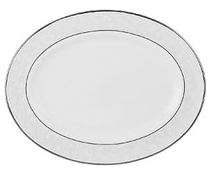 Lenox 猫眼石纯白铂金骨瓷 5 件套餐具组合 猫眼石 Oval Platter, 13-in ZPV-8126