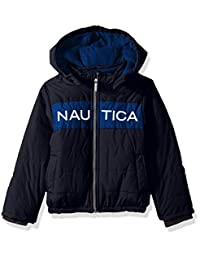 Nautica 男孩防水签名泡泡泡夹克,带防风袖口