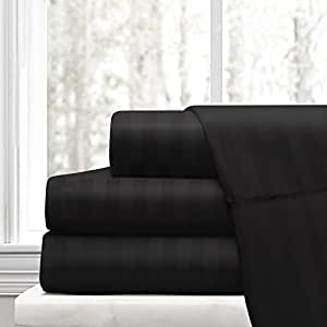Beckham Hotel Collection Luxury Soft Brushed Microfiber 4-Piece Striped Sheet Set - Hypoallergenic & Stain Resistant with Embossed Stripes - Full - Black