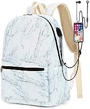 女孩女士大学笔记本电脑背包书包旅行背包书包书包书包带 USB 充电端口适用于高中 2-marble-b Mid Size