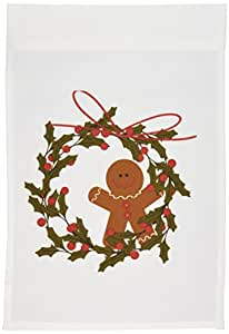 tnmgraphics 圣诞–花环与 gingerbread MAN and HOLLY–旗帜 12 x 18 inch Garden Flag