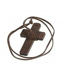 VNDEFUL 木制十字架吊坠皮革绳项链男式和女式时尚项链毛衣链(棕色绳)