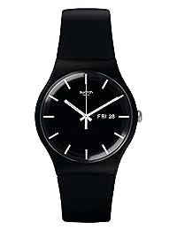 Swatch 斯沃琪 瑞士品牌 原创系列 石英男女适用手表 炫酷纯黑 SUOB720