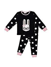 Naf Naf 儿童睡衣 男孩和女孩 2 件套睡衣套装 * 纯棉(尺码 2-10 岁)+ 熊猫和企鹅图案睡觉面具