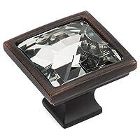 5 件装 - Cosmas 6825ORB-C 油面青铜橱柜五金件方形把手带透明玻璃 - 3.18 厘米正方形