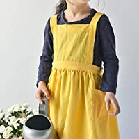Karuilu 可调节柔软棉质亚麻围裙,适合儿童和成人,适合家庭、烹饪、烘焙、工艺、园艺、艺术项目,日式风格 亮黄色 Kids - M