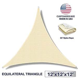 Windscreen4less 遮阳帆户外庭院后院防紫外线遮阳篷带不锈钢 D 形环 13 英尺 x 3 英尺 x 3 英尺 三角形 - 定制 12' x 12' x 12' SS16ET121212TN