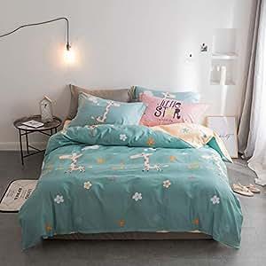 全棉斜纹简约床单式1.8m床上用品纯棉四件套家居用品 (奔跑吧小鹿, 被套2.0 * 2.3床单2.3 * 2.45 四件套 适用1.5-1.8m床)