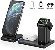 无线充电器 3 合 1 可拆卸无线充电站适用于 Apple Watch AirPods Pro 磁性无线快速充电支架适用于 iPhone 11/11 Pro Max/X/XS/XR/Xs Max/8/8 Plus 和其他