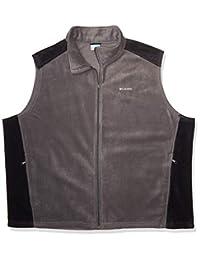 Columbia 男士 Steens Mountain 全拉链柔软羊毛背心 Grill/Black Medium