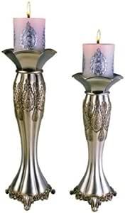 Ore International 传统蜡烛架 - 2 件套 银色 K-4199C