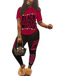 Elosele 女式 2 件套套装短袖黑色父亲马特 T 恤紧身裤套装运动服连身裤