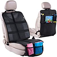 儿童汽车座椅保护罩 + 后座收纳袋 - 防水防污保护后座踢垫/储物袋和平板电脑支架 - 婴儿旅行踢垫和前/后座椅套套装