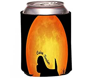 "Rikki Knight ""Cairn Terrier Dog Silhouette by Moon Design"" Beer Can/Soda Drinks Cooler Koozie"